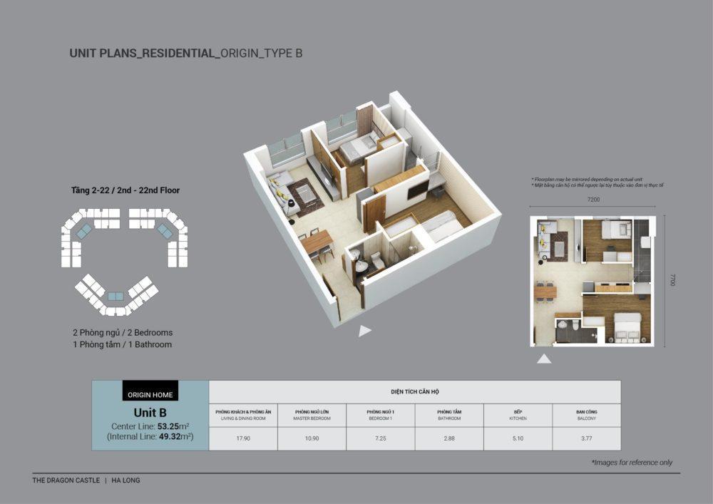 Mẫu thiết kế căn hộ diện tích 53.25m2: 2 phòng ngủ và 1 phòng vệ sinh tại The Dragon Castle Hạ Long
