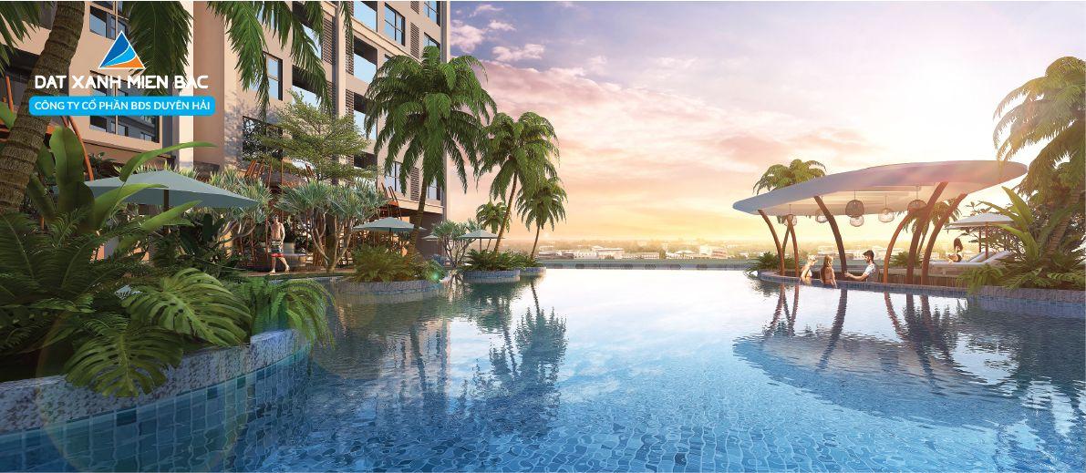 Bể bơi vô cực với tầm view toàn thành phố